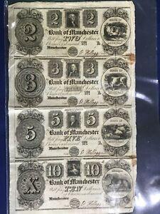 1837 Manchester Michigan Uncut Unissued Set of 4 Broken Bank Notes $2, 3, 5, 10