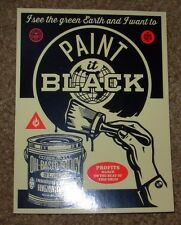 """SHEPARD FAIREY Obey Giant Sticker 4 X 5.5"""" PAINT IT BLACK from poster print"""