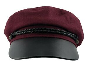 Sailor Cap Cabbie Newsboy Cap Ladies Greek Fisherman Hat Premium Wool Blend