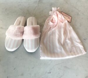 VICTORIA'S SECRET White/Pink Casual Stripe Signature Satin Slipper