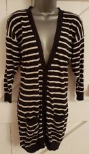 Deep Navy/White Striped Cardigan Thin Knit Casual Long Pockets Ladies Women's