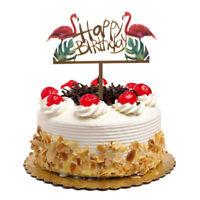 glitter gold acrylic flamingo happy birthday cake topper party decoration diy JG