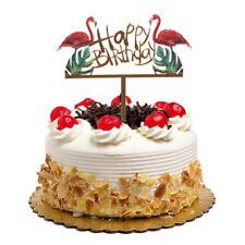 Glitter Gold Acrylic Flamingo Happy Birthday Cake Topper Party Decoration Diy JO