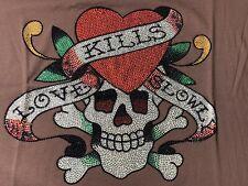 Ed Hardy, Heart, Skull, Love, Kills, Slowly, Old English, Tattoos, Large T-Shirt