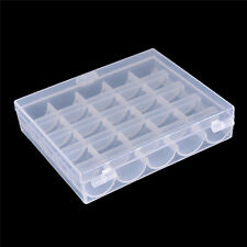 25 Cell Empty Bobbins Spools Box Sewing Machine Bobbin Case Organizer Storage MW