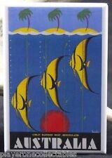 "Australia Vintage Travel Poster 2"" X 3"" Fridge Magnet. Great Barrier Reef"