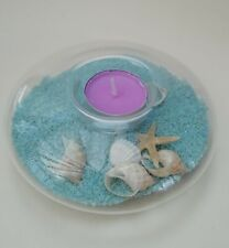 Seashell Coloured Sand Beach Vintage Glass Tealight Candle Holder