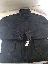 Polo Ralph Lauren Men Leather Jacket Black Unique and Rare