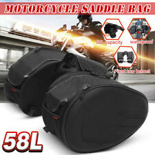 2PCS 58L Black Saddle Bags Rear Seat Trunk Luggage Motorcycle Cruiser Side Pouch