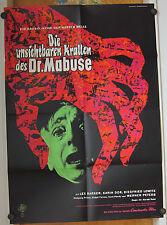 UNSICHTBAREN KRALLEN DES DR. MABUSE (Kinoplakat / Filmplakat '62) - LEX BARKER