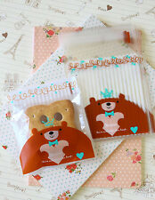 Brown Bear Cello Bags cute cartoon cookie candy packaging gift wrap favour bag