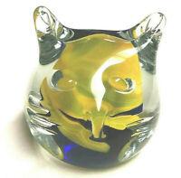 Blenko Glass Cat Head Paperweight - Cobalt Blue & Paw Paw Swirl