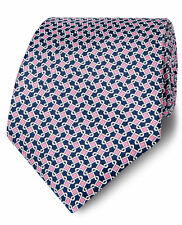 T.M.Lewin Mens Printed Navy and Pink Chain Link Silk Wide Tie