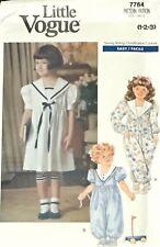 Vtg Little Vogue 7764 Pattern Girls 1-2-3 Sailor Dress Romper Jumpsuit Leggings