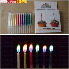 12pcs x1 Coloured Flame Candles Birthday Anniversary Party Novelty Fun Colour