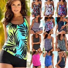 Women Push Up Padded Tankini Bikini Set Swimsuit Bathing Suit Swimwear Plus LC