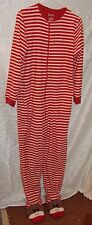 Nick & Nora S One Piece Pajama Set Red White Striped Sock Monkey Feet Womens PJ
