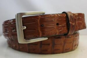 Genuine Cognac/Brandy Hornback Alligator Leather Belt (Made in U.S.A)