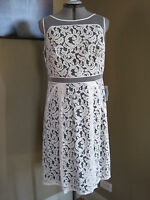Adrianna Papell White and Black Lace Sheath Sleeveless Dress Size 14