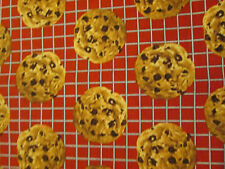 COOKIES CHOCOLATE CHIP BAKING SHEET RED COOKIE DESSERT COTTON FABRIC FQ