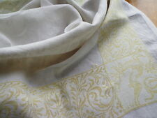 """Romantic Antique Heirloom Linen Tablecloth """"Tristan and Isolde - Love For Love"""""""