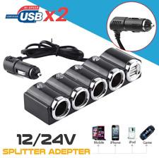 4 Way Car Cigarette Lighter Splitter Multi Socket Dual USB Plug Charger 12V-24V
