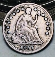 1857 Seated Liberty Half Dime 5C Good Date Choice Ungraded Silver US Coin CC6998