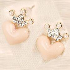 Princess Crown Pink Heart Earrings - NIP - Pierced / Post - Pearls / CZs