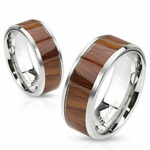 NEW~316L Stainless Steel Rose Wood Inlay~His & Her Ring~Wedding Band~