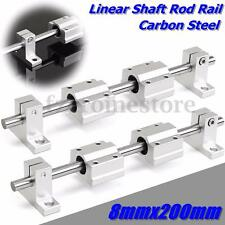2Pcs 8mm 200mm Linear Shaft Rod Rail Kit + 4 SCS8UU Bearing Block For 3D Printer