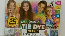 Premium Tie Dye Kit Neons - 5 Pre-Filled Bottles - Makes 25 projects