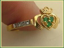 "RING TRADITIONAL IRISH""CLADDAGH"" DE ORO YELLOW AND ESMERALDAS (TESTED)"