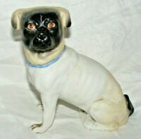 ANTIQUE GERMAN PORCELAIN BISQUE PUG DOG FIGURE FIGURINE 5 INCHES HIGH