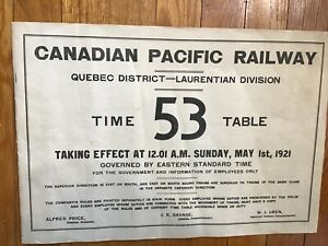 Canadian Pacific Employee Timetable Quebec District Laurentian Dvn - May 1, 1921
