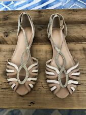 Pink And Gold Flat Strappy Shoe With Open Toe Size 8