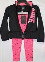 NIKE  2-PIECE GIRLS PANTS/JACKET SET, SIZE 5, BLACK/PINK E159-A4F