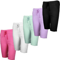 LADIES SHORTS KNEE LENGTH SLIM FIT COLOUR TROUSER SUMMER STRETCH PANTS LEGGINGS