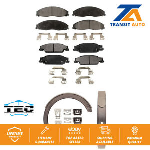Front Rear Ceramic Brake Pads And Parking Shoes Kit For Cadillac CTS