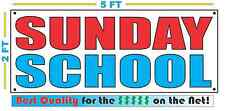 SUNDAY SCHOOL Full Color Banner Sign NEW 2x5