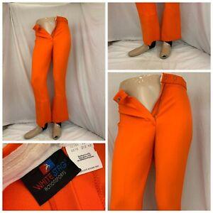 White Stag Ski Pants Sz 12 Orange Rayon Nylon Stirrups Worn Once YGI W0-548