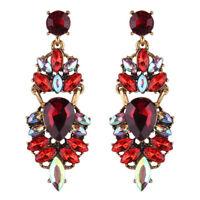Vintage Gold Ruby Red Rainbow Rhinestone Crystal Stud Dangle Statement Earrings