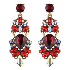 Vintage Gold Ruby Red Rainbow Rhinestone Crystal Stud Dangle Statement Earrings