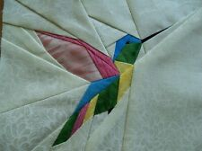 4 Paper Pieced Colorful Hummingbird Bird quilt block