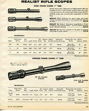 1974 Print Ad of Realist Fixed & Variable Power Rifle Scopes