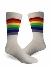 Ladies 3 Pairs Ankle High Socks Referee White Rainbow Women Cotton Fashion 6-11