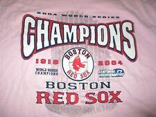 BOSTON RED SOX 2004 WORLD SERIES Champions w/ Trophy (XL) T-Shirt PINK