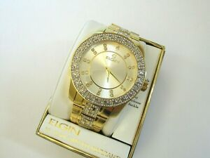 """Elgin Men"""" 14k Gold Plated Stylish Stainless Steel  Luxurious Watch FG9038"""