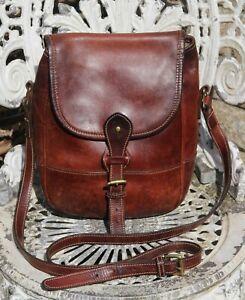 Vintage TUSTING Tan Brown Saddle Leather Messenger Cross Body Bag