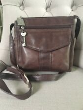Vintage FOSSIL Brown Distressed Leather Crossbody/Shoulder Bag, Silver Key Fob