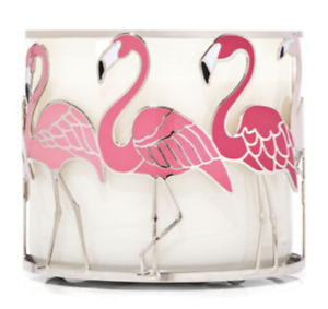 Bath & Body Works PINK FLAMINGOS 3 wick CANDLE Holder NEW!